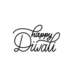 Happy diwali hand lettering on white background vector
