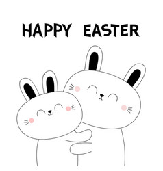 happy easter bunny rabbit hare hugging couple vector image