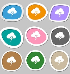 Heavy thunderstorm symbols Multicolored paper vector