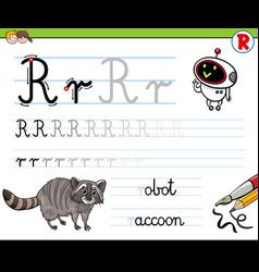 How to write letter r worksheet for kids vector