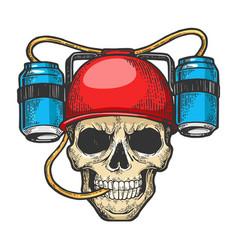 human skull with beer soda helmet sketch engraving vector image