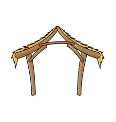Hut manger icon merry christmas design vector