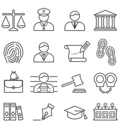 Justice law lawyer and court icon set vector