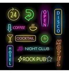 Light neon labels vector