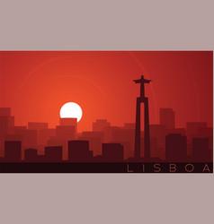 lisbon low sun skyline scene vector image