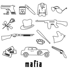 Mafia criminal black outline symbols and icons set vector