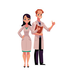 male and female doctors in medical coats showing vector image