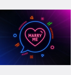Marry me line icon sweet heart sign wedding love vector