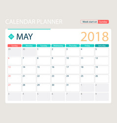 may 2018 calendar or desk vector image