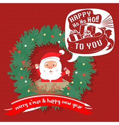 Merry Christmas greeting cardSanta hohoho vector image