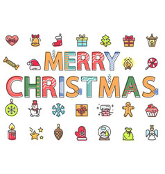 merry christmas pack icons in flat style vector image