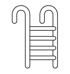 Metal pool stairs icon outline style vector