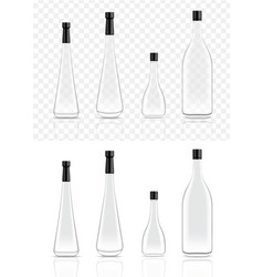 mock up realistic glass alcohol bottles and food vector image