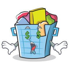 money eye laundry basket character cartoon vector image