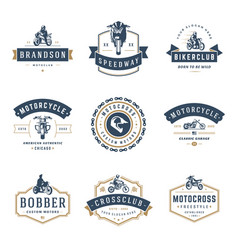 Motorcycles logos templates design elements vector