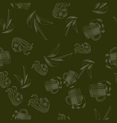 Mug of beer shrimp potato chips seamless pattern vector