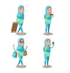 muslim woman cartoon travel set vector image