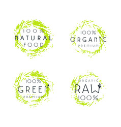 Natural organic food labels design vector