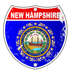 New hampshire flag icons as interstate sign vector