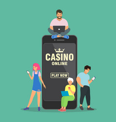 online casino concept people are near a large vector image