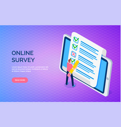 online survey landing page template with man makes vector image