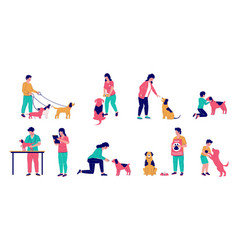 people with dogs flat isolated vector image