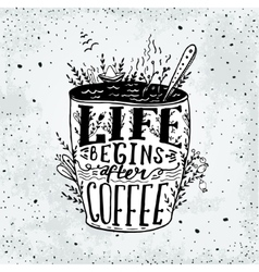 Phrase Life begins after coffee mug card vector