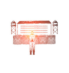 prisoner in handcuffs standing outside jailhouse vector image