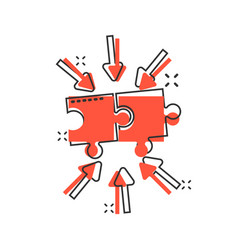 Puzzle jigsaw icon in comic style solution vector