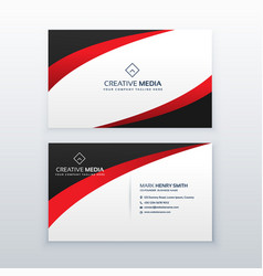 Red business card design with wave effect vector