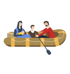 refugees family in inflatable boat political vector image