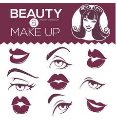 Retro beauty collection pinup girl lips eyes vector