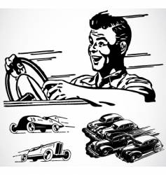 Retro car graphics vector