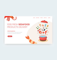 Seafood delivery website landing page vector