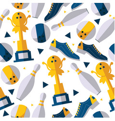 Seamless pattern with bowling player accessories vector