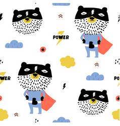 seamless pattern with hand drawn bear super hero vector image