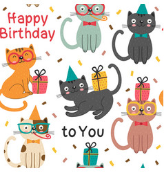 seamless pattern with happy birthday cats vector image
