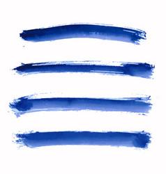 Set blue indigo watercolor stripes vector