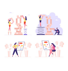 set business people building tower wooden vector image