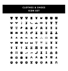 set clothes and shoes icon with glyph style vector image