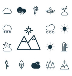 set of 16 nature icons includes snowstorm vector image