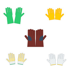 set of safety gloves for industrial construction vector image
