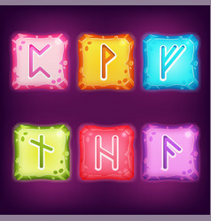 Set of square colorful rune stones vector