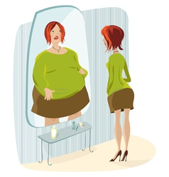 Slim lady and her fat reflection vector