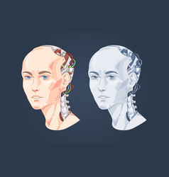 smart robot with woman face human head shaped vector image