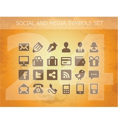 Social and media pictograms set isolated vector