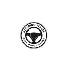 Steering wheel logo design - automotive vector