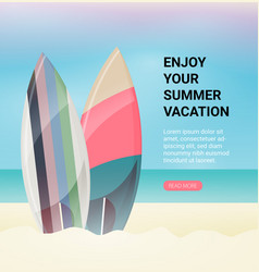 surfboards on beach flat design style vector image