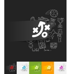 Tactics paper sticker with hand drawn elements vector