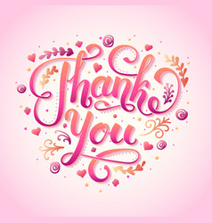 thank you handwritten lettering inscription for vector image
